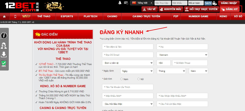 đăng ký tài khoản 12bet chơi xổ số keno